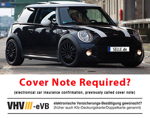 Electronical car insurance confirmation - Cover note